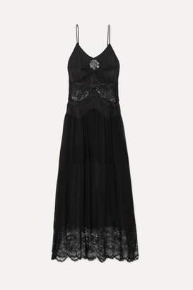 Paco Rabanne Lace-trimmed Satin And Chiffon Midi Dress - Black
