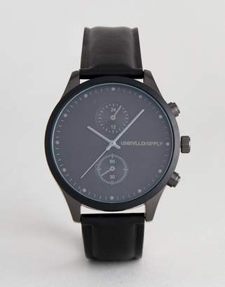 Asos DESIGN watch in black and gunmetal with sub dials