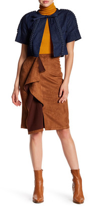 Gracia Faux Suede Ruffle Skirt $76 thestylecure.com