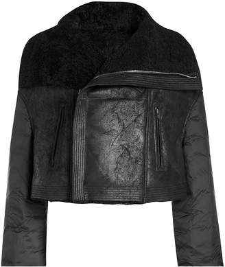 Rick Owens Shearling Jacket with Quilted Sleeves