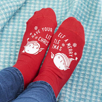 Sparks And Daughters Merry Christmas Elf Socks