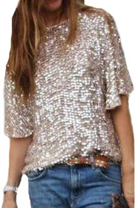Jumojufol Women's Casual Basic Simple Short Sleeve Scoop Neck Sequince T Shirts Blouse L