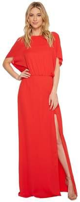 Halston Flowy Short Sleeve Wide Boatneck Gown w/ Split Women's Dress