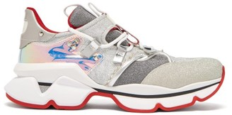 Christian Louboutin Red Runner Lame Trainers - Womens - Silver Multi
