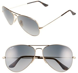 Women's Ray-Ban Large Icons 62Mm Aviator Sunglasses - Gold/ Grey $165 thestylecure.com