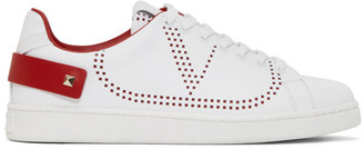 Valentino White and Red Garavani VLogo Backnet Sneakers