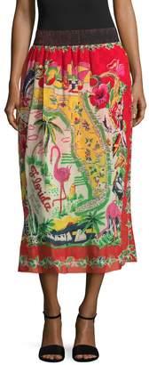 Anna Sui Women's Florida Land Of Sunshine Midi Skirt