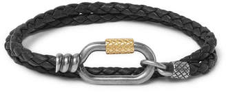 Bottega Veneta Intrecciato Leather, Silver and Gold-Tone Bracelet - Black