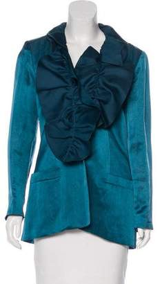 Ungaro Linen & Silk Ruffle Collar Blazer w/ Tags