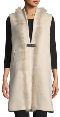 Herno Long Wool-Blend Vest w/ Leather & Feathers
