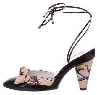 Chanel Printed Wrap-Around Pumps