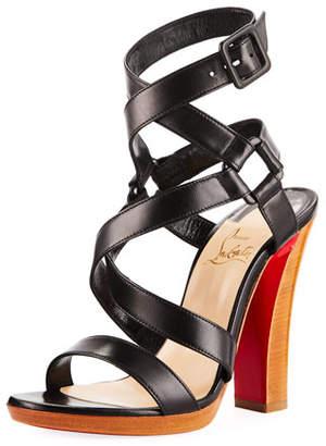 Christian Louboutin Corsini 120 Cross-Strap Red Sole Sandal