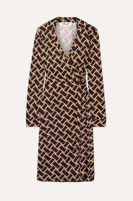 Diane von Furstenberg Printed Silk-jersey Wrap Dress - Black