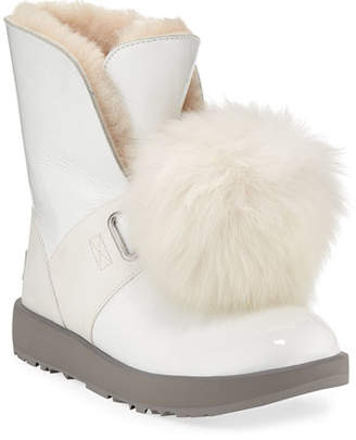 UGG Isley Waterproof Patent Boots with Shearling Pompom