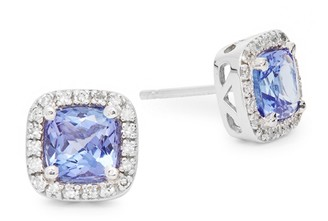 Effy 14K White Gold Tanzanite & Diamond Stud Earrings