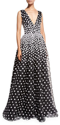 Oscar de la Renta Sleeveless V-Neck Gown w/Floral-Embroidered Overlay, Black/White $6,490 thestylecure.com