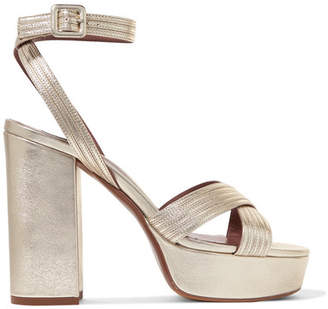 Tabitha Simmons Angel Metallic Textured-leather Platform Sandals - Gold