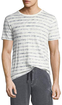 ATM Anthony Thomas Melillo Distressed Painted-Stripe T-Shirt