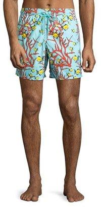Vilebrequin Moorea Coral & Fish Swim Trunks, Turmeric $280 thestylecure.com