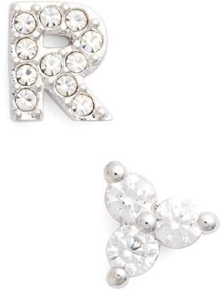 Nadri Initial Mismatched Stud Earrings