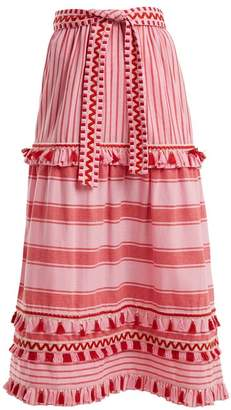 Dodo Bar Or - Gael Tassel Trimmed Striped Cotton Midi Skirt - Womens - Pink