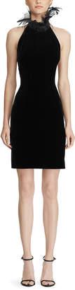 Ralph Lauren Deserae Feather-Trim Velvet Dress
