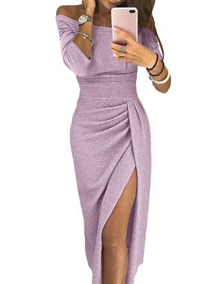 SEBOWEL Women's Off Shoulder Long Sleeve Knit Ruched High Slit Midi Party Dress