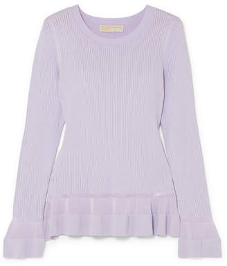 MICHAEL Michael Kors Pointelle-knit Peplum Sweater - Lilac