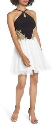 Blondie Nites Loop Keyhole Applique Fit & Flare Dress