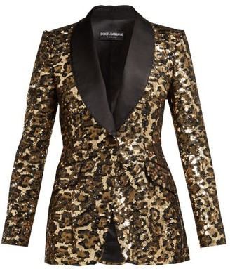 Dolce & Gabbana Shawl Lapel Leopard Sequinned Blazer - Womens - Leopard