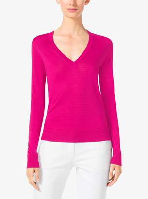 Michael Kors Silk V-Neck Sweater