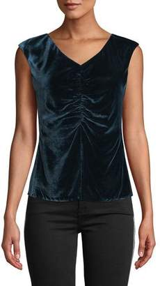 Rebecca Taylor Velvet Ruched Sleeveless Top