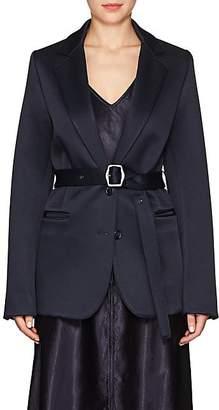 Sies Marjan Women's Belted Wool-Blend Satin Two-Button Blazer - Dark Navy