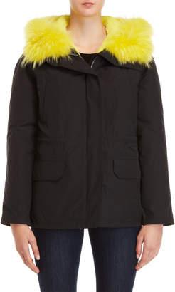 Yves Salomon Army Real Fur Trim Hooded Coat