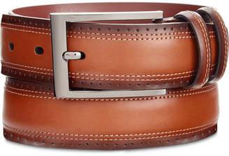 Perry Ellis Men's Portfolio Double-Stitched Leather Belt