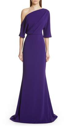 Badgley Mischka Collection One-Shoulder Trumpet Evening Dress