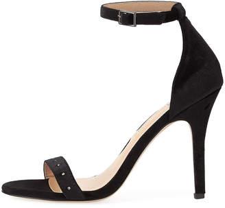 Neiman Marcus Baicho High-Heel Velvet Sandals, Black