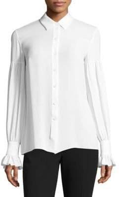 Michael Kors Silk Gathered Bell-Sleeve Silk Button-Down Shirt
