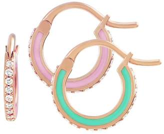 Raphaele Canot Green and Pink Skinny Deco Hoop Earrings - Rose Gold