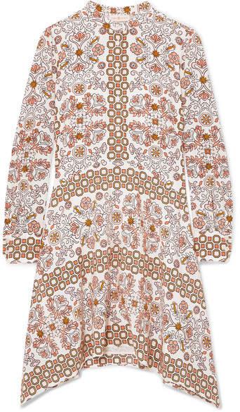 Tory Burch - Celeste Printed Silk Mini Dress - Beige