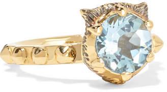 Gucci Le Marché Des Merveilles 18-karat Gold, Aquamarine And Diamond Ring