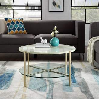 Mid-Century MODERN Manor Park 32 Round Coffee Table - White Marble Top, Glass Shelf, Gold Legs