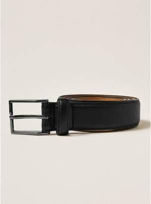 Topman Mens Skinny Smart Saffiano Embossed Belt with Silver Buckle in Black