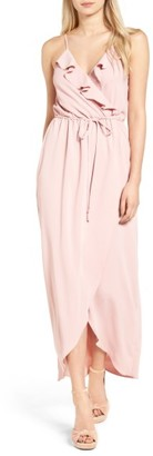 Women's Everly Ruffle Wrap Maxi Dress $59 thestylecure.com