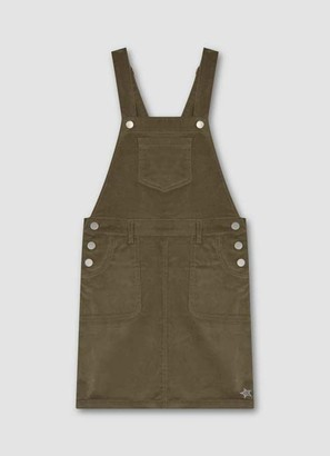 Mint Velvet Khaki Cord Dungaree Dress