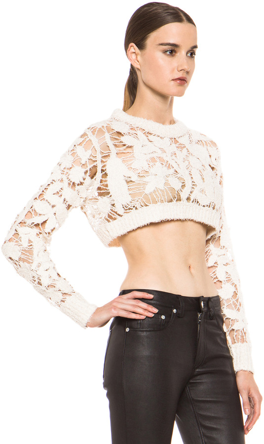 3.1 Phillip Lim Open Knit Embroidered Cropped Sweater in Ivory