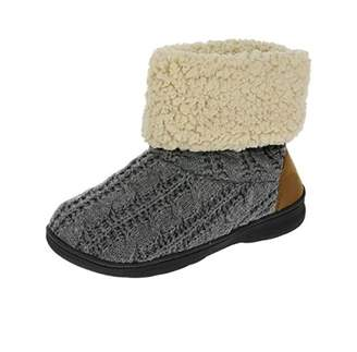 Dearfoams 50450 Cable Knit Bootie Slippers S
