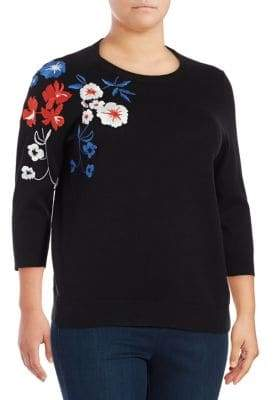 Lord & Taylor Plus Embroidered Floral Sweater