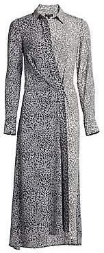 Rag & Bone Rag& Bone Rag& Bone Women's Karen Silk Asymmetric Leopard Print Shirtdress
