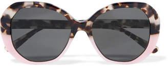 Illesteva Manuela Two-tone Round-frame Acetate Sunglasses - Tortoiseshell